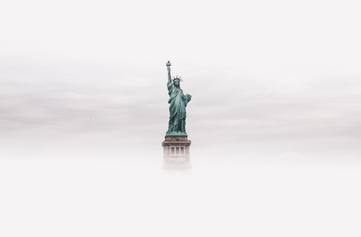 statue of liberty in the fog